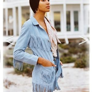 Arnhem Fringe Suede Jacket Ice Blue